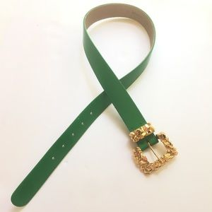 St. John Leather Green Gold Belt Sz 2